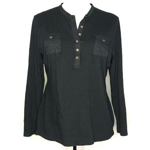 Gap Black Henley Long Sleeve Blouse Top A080540